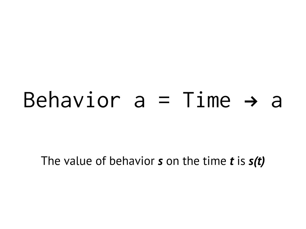 Behavior a = Time ! a The value of behavior s o...
