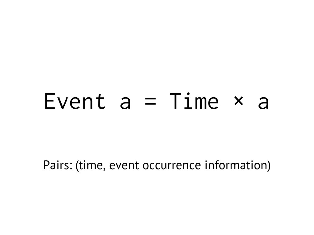 Event a = Time × a Pairs: (time, event occurren...