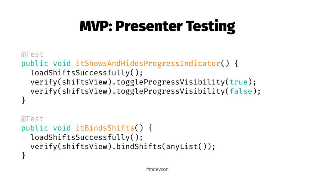 MVP: Presenter Testing @Test public void itShow...