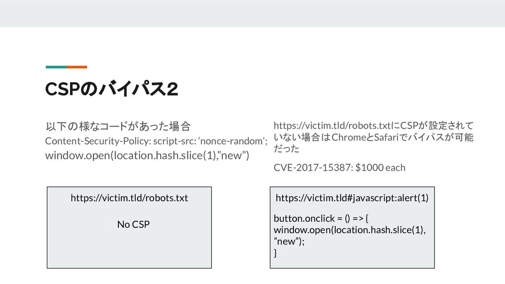 CSPのバイパス2 以下の様なコードがあった場合 Content-Security-Polic...