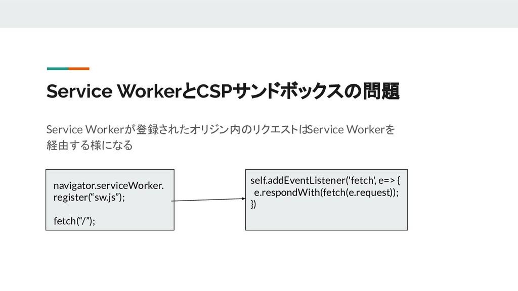 Service WorkerとCSPサンドボックスの問題 Service Workerが登録さ...