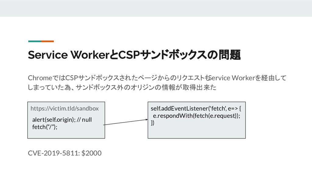 Service WorkerとCSPサンドボックスの問題 ChromeではCSPサンドボックス...