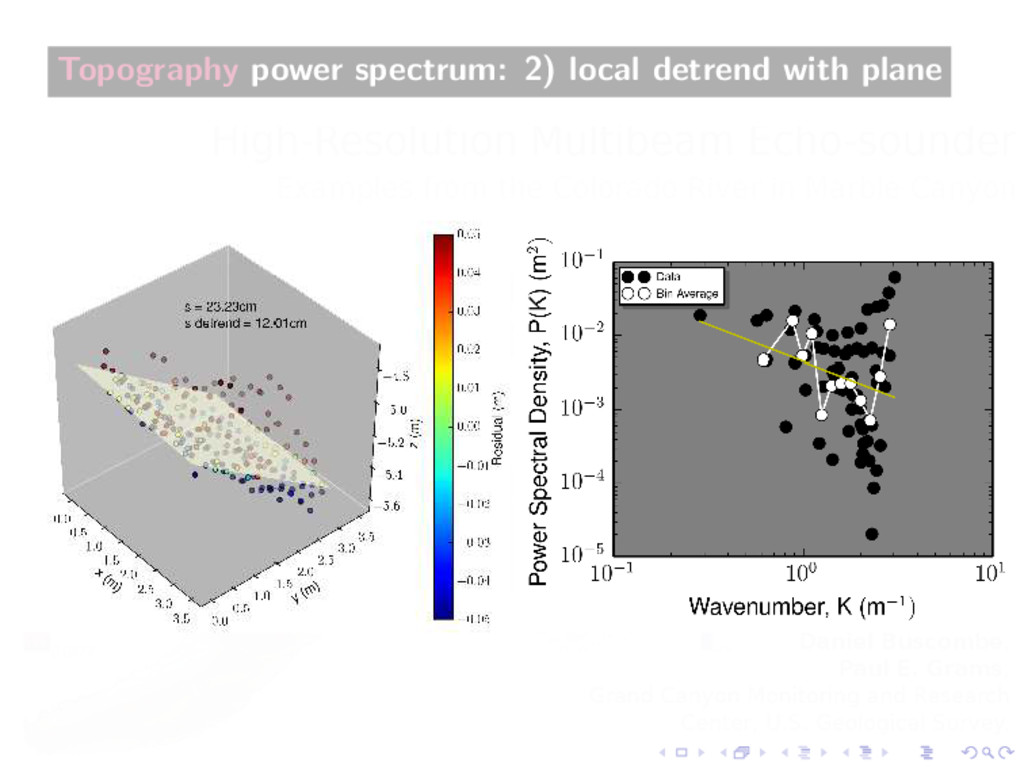 Topography power spectrum: 2) local detrend wit...