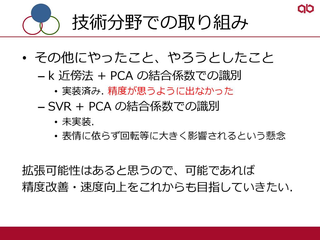 技術分野での取り組み • その他にやったこと、やろうとしたこと – k 近傍法 + PCA の...