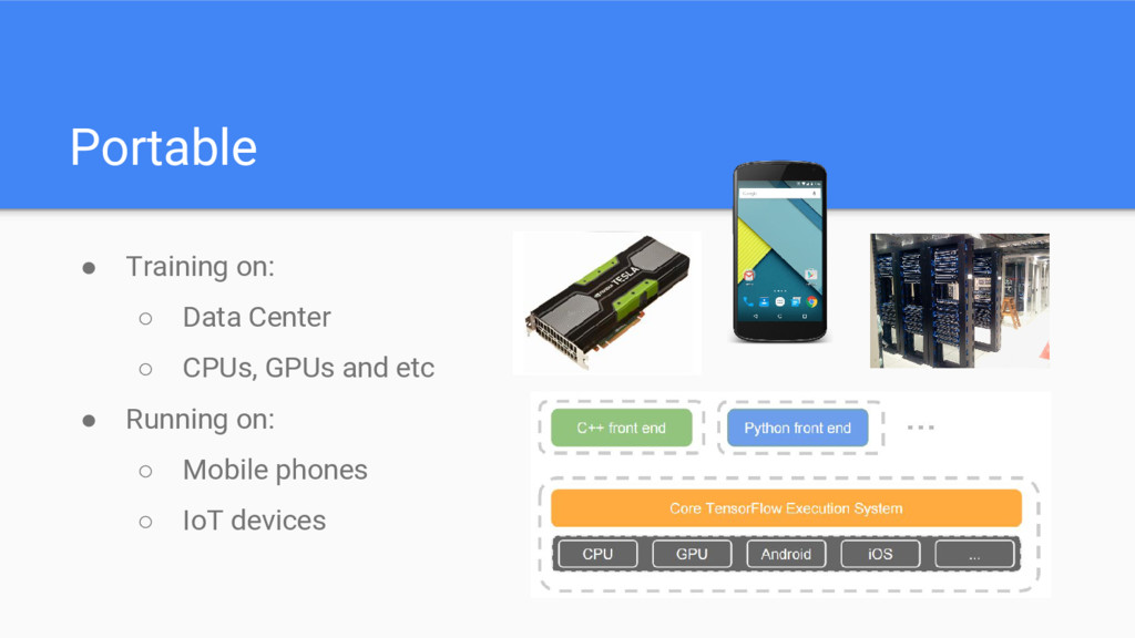 Portable ● Training on: ○ Data Center ○ CPUs, G...