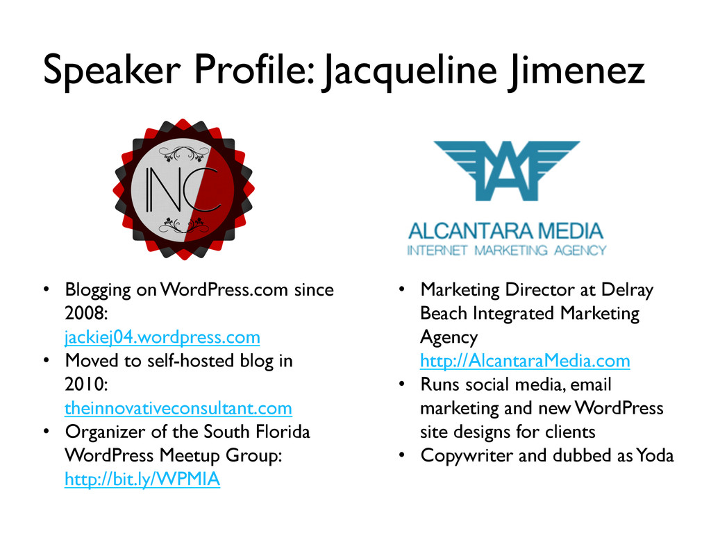 Speaker Profile: Jacqueline Jimenez •  Blogging...