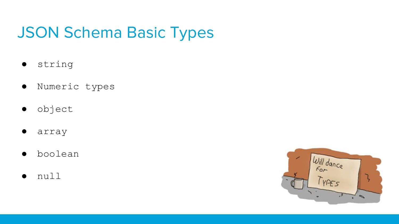 JSON Schema Basic Types ● string ● Numeric type...