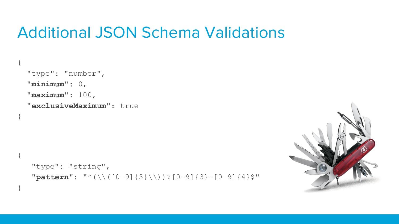 """Additional JSON Schema Validations { """"type"""": """"n..."""