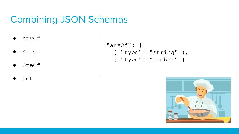 Combining JSON Schemas ● AnyOf ● AllOf ● OneOf ...