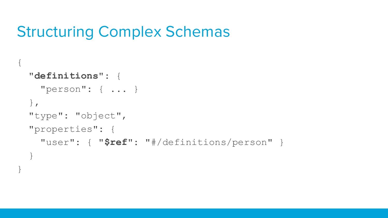"""Structuring Complex Schemas { """"definitions"""": { ..."""