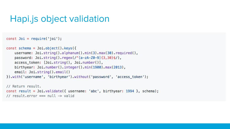 Hapi.js object validation