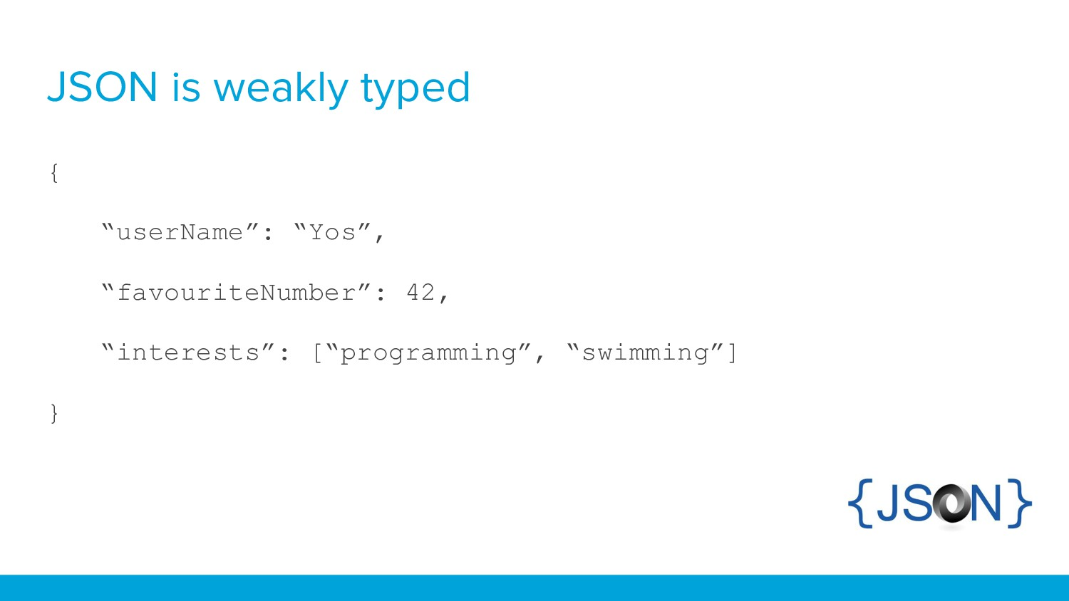 """JSON is weakly typed { """"userName"""": """"Yos"""", """"favo..."""
