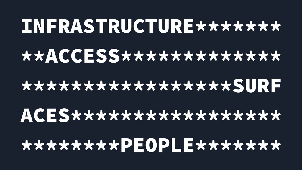 INFRASTRUCTURE******* **ACCESS************* ***...