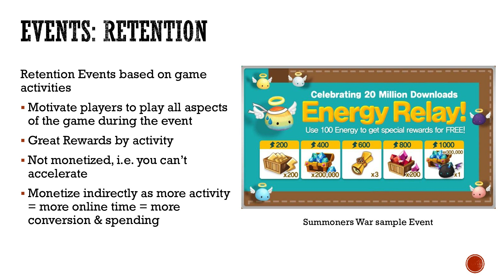Retention Events based on game activities  Mot...