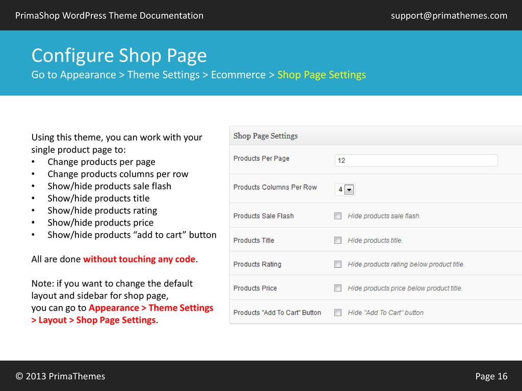 © 2013 PrimaThemes Page 16 PrimaShop WordPress ...