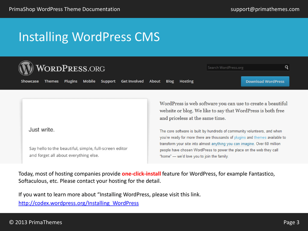 © 2013 PrimaThemes Page 3 PrimaShop WordPress T...