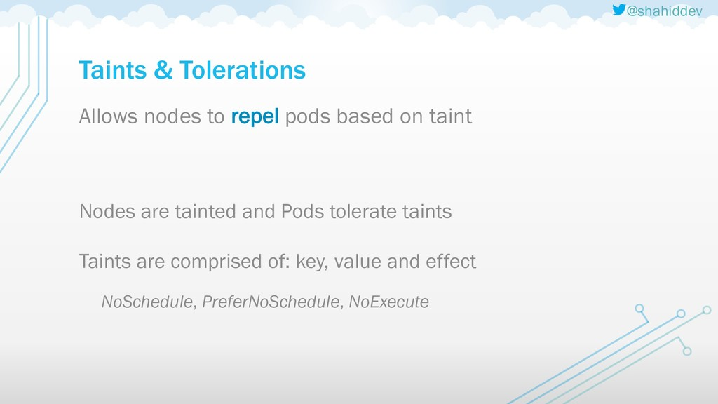 @shahiddev Taints & Tolerations Allows nodes to...
