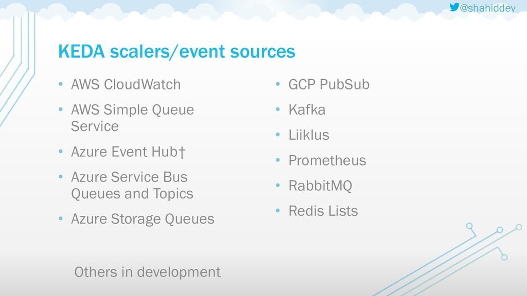 @shahiddev KEDA scalers/event sources • AWS Clo...