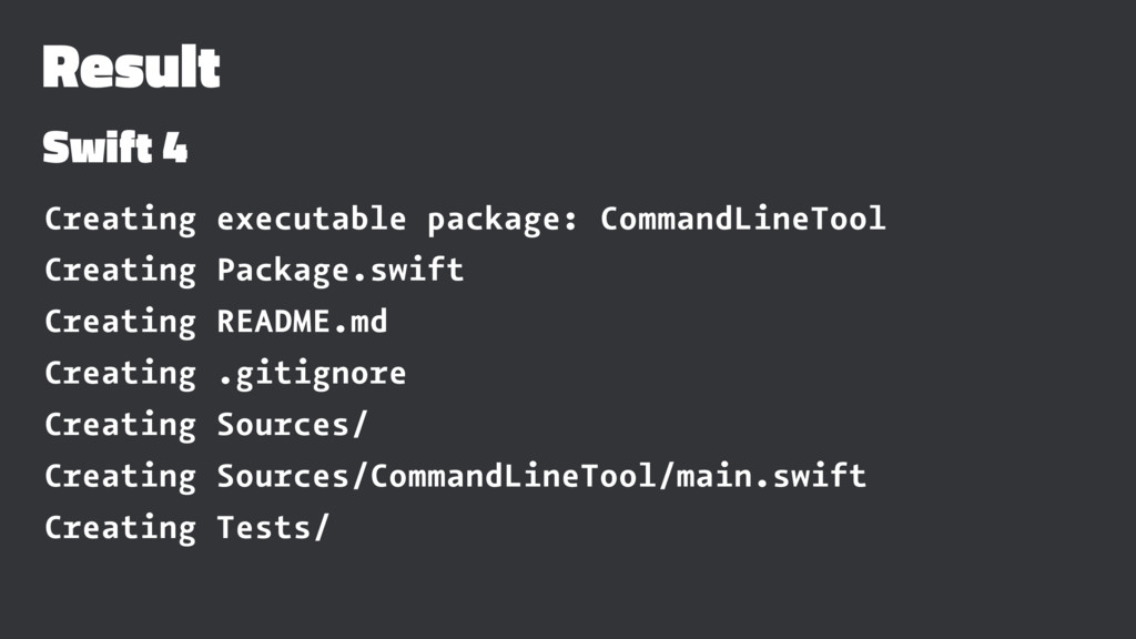 Result Swift 4 Creating executable package: Com...