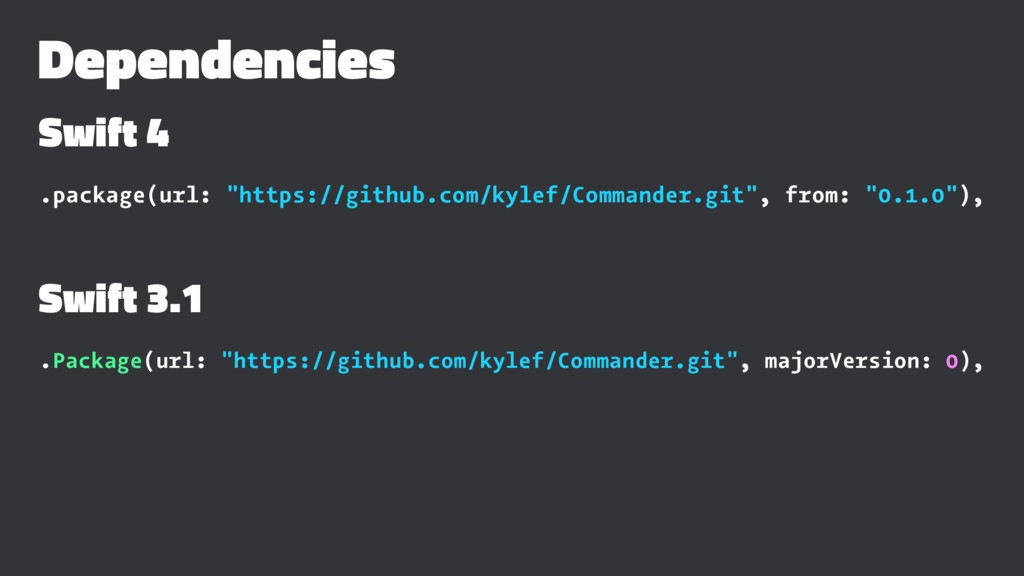 "Dependencies Swift 4 .package(url: ""https://git..."