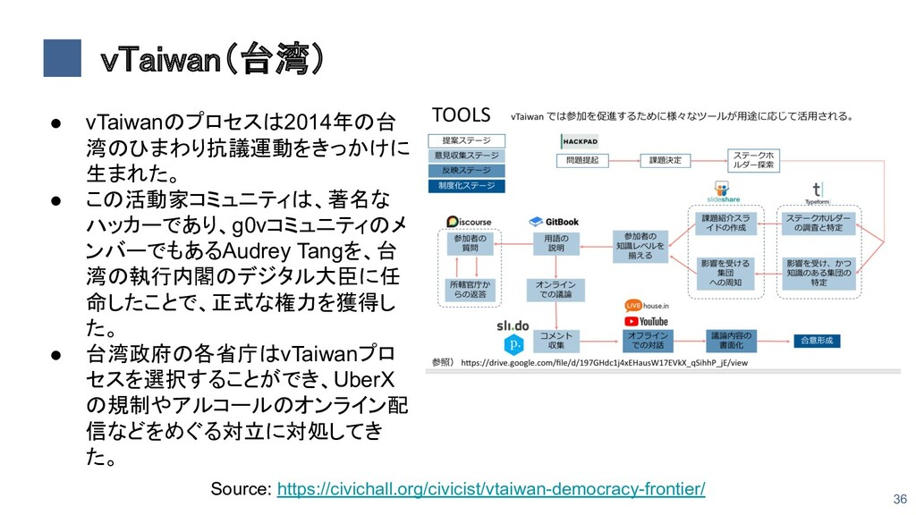 vTaiwan(台湾) 36 ● vTaiwanのプロセスは2014年の台 湾のひまわり抗議...