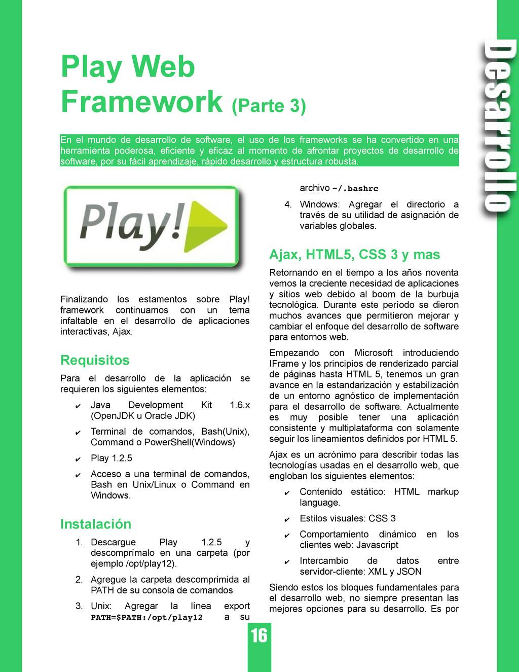 Play Web Framework (Parte 3) En el mundo de des...
