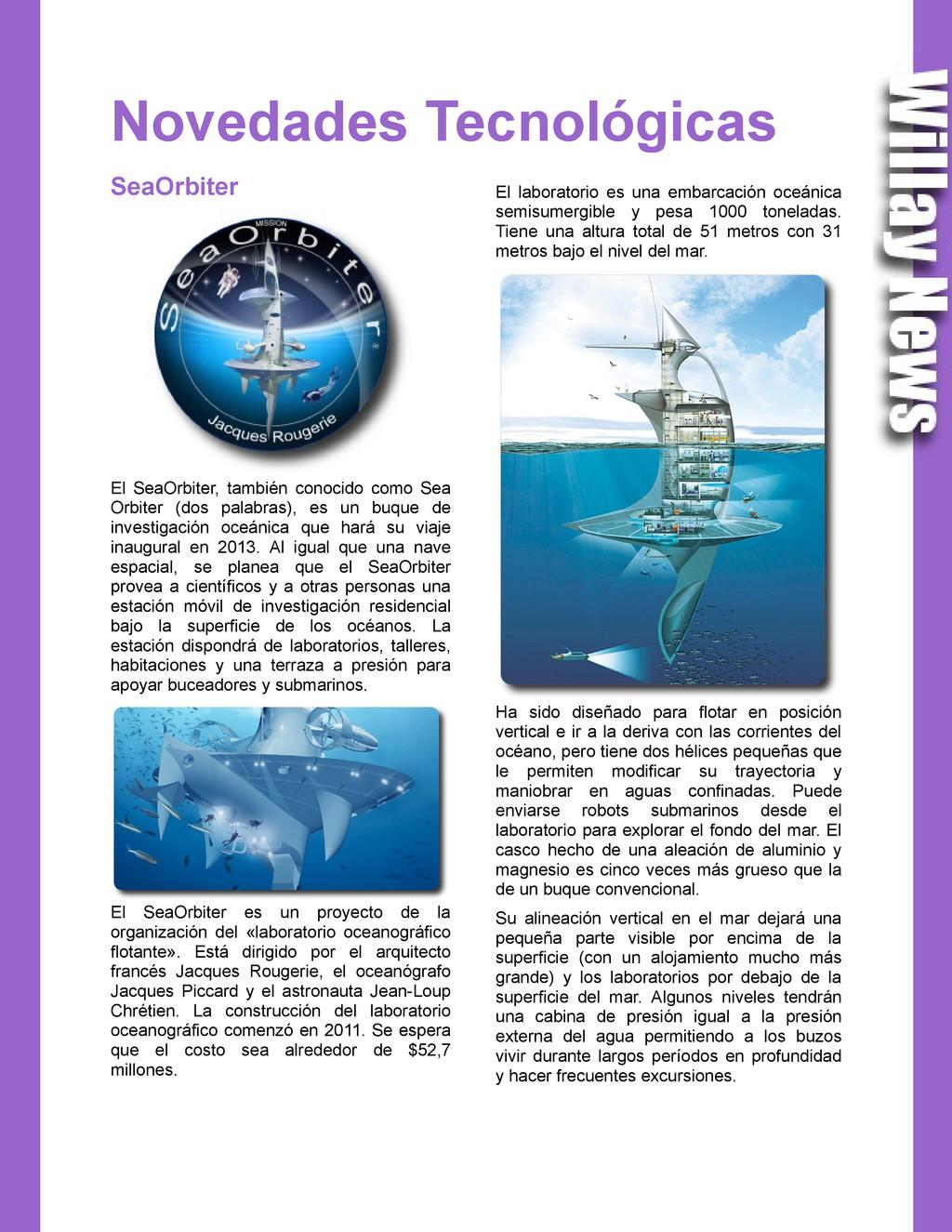 Novedades Tecnológicas SeaOrbiter El SeaOrbiter...