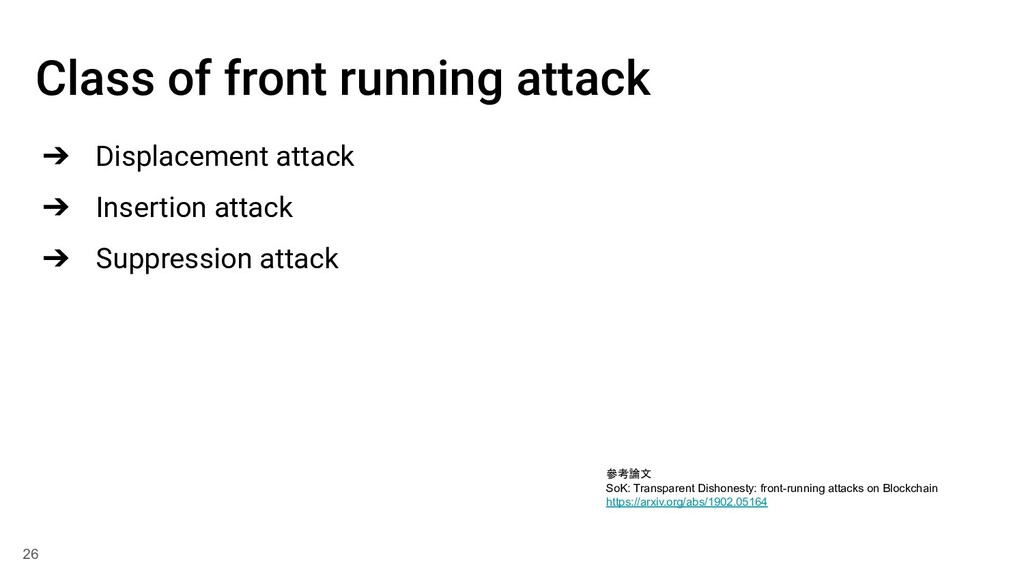Class of front running attack ➔ Displacement at...