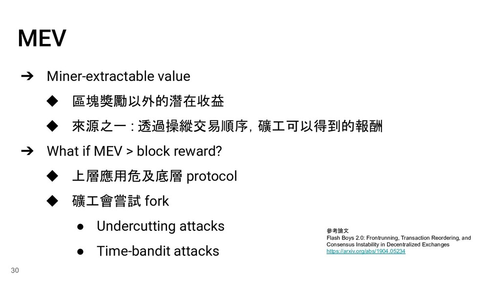 MEV ➔ Miner-extractable value ◆ 區塊獎勵以外的潛在收益 ◆ 來...