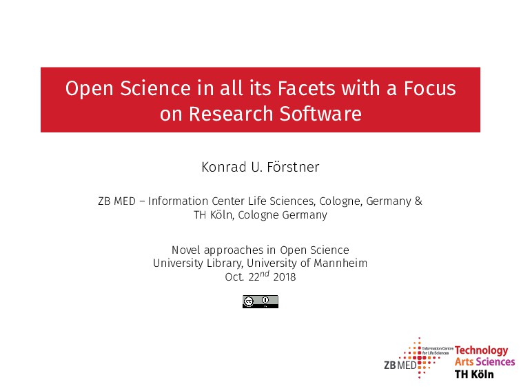 Open Science in all its Facets with a Focus on ...