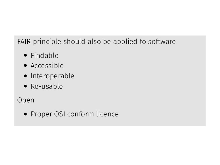 FAIR principle should also be applied to softwa...