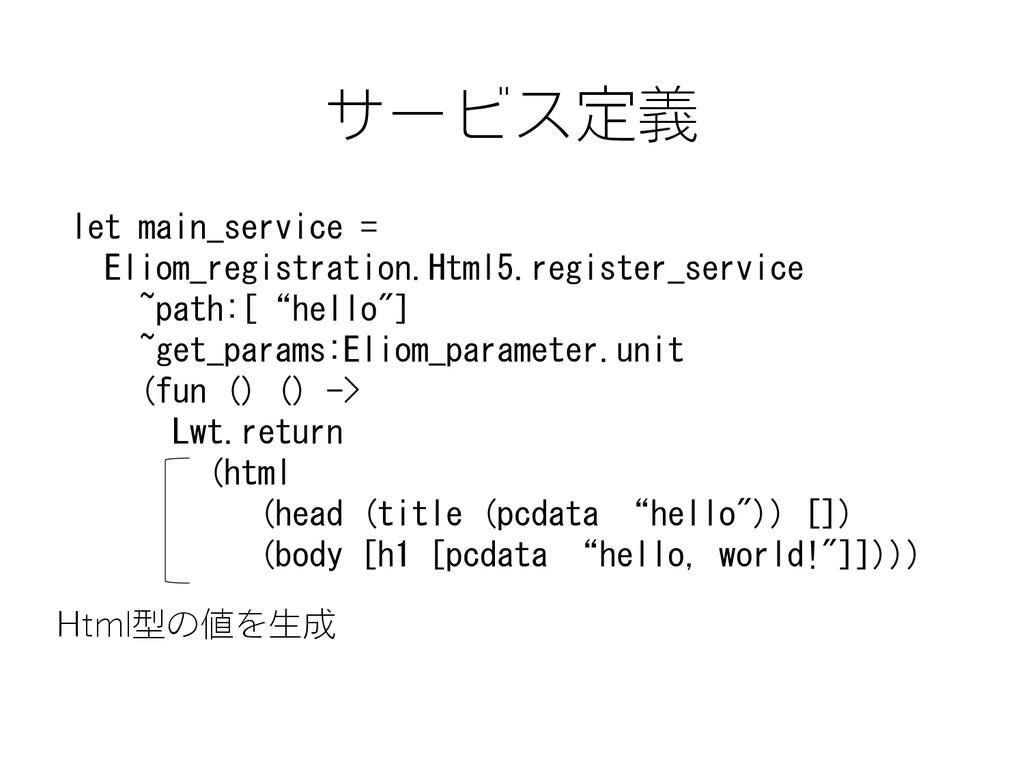 サービス定義 let main_service = Eliom_registration.Ht...