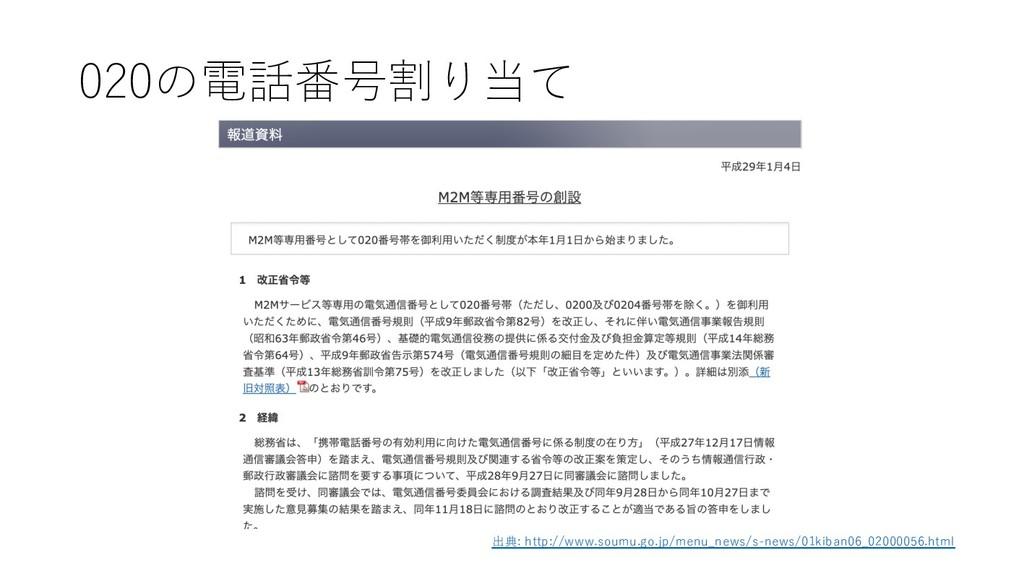 020の電話番号割り当て 出典: http://www.soumu.go.jp/menu_ne...