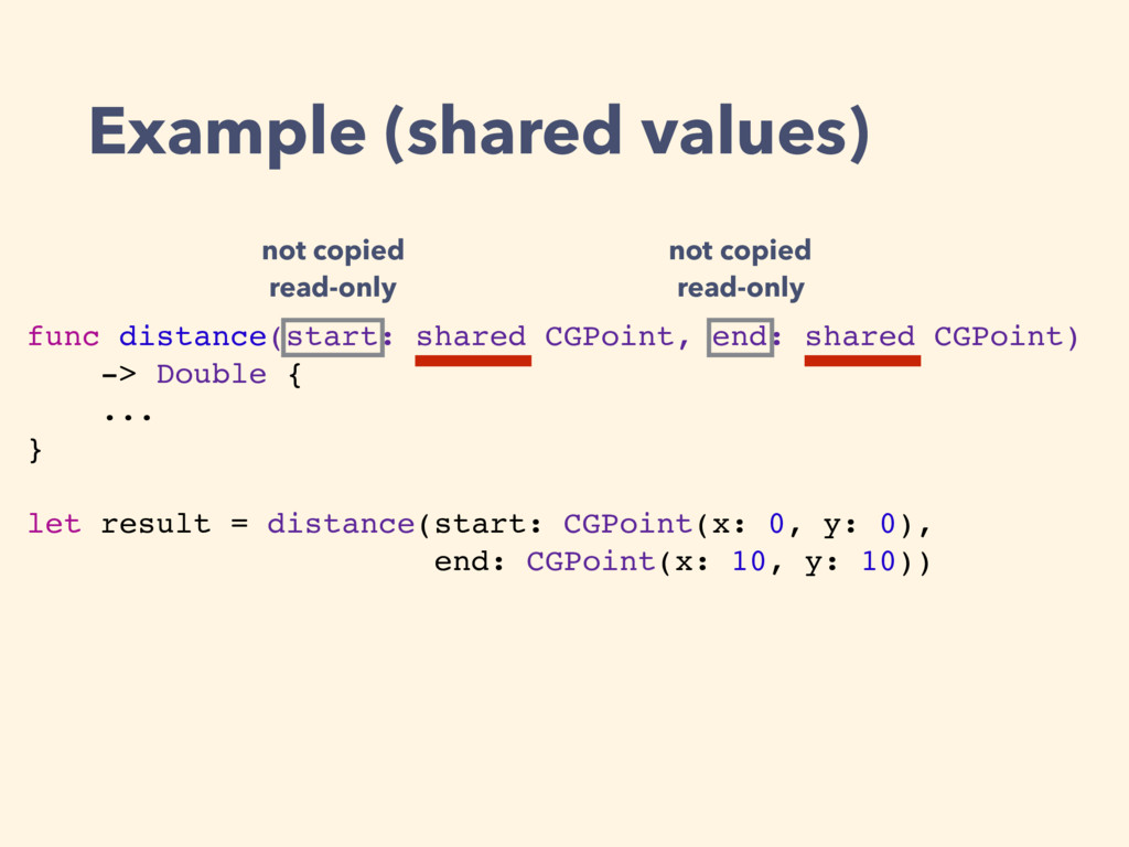 func distance(start: shared CGPoint, end: share...