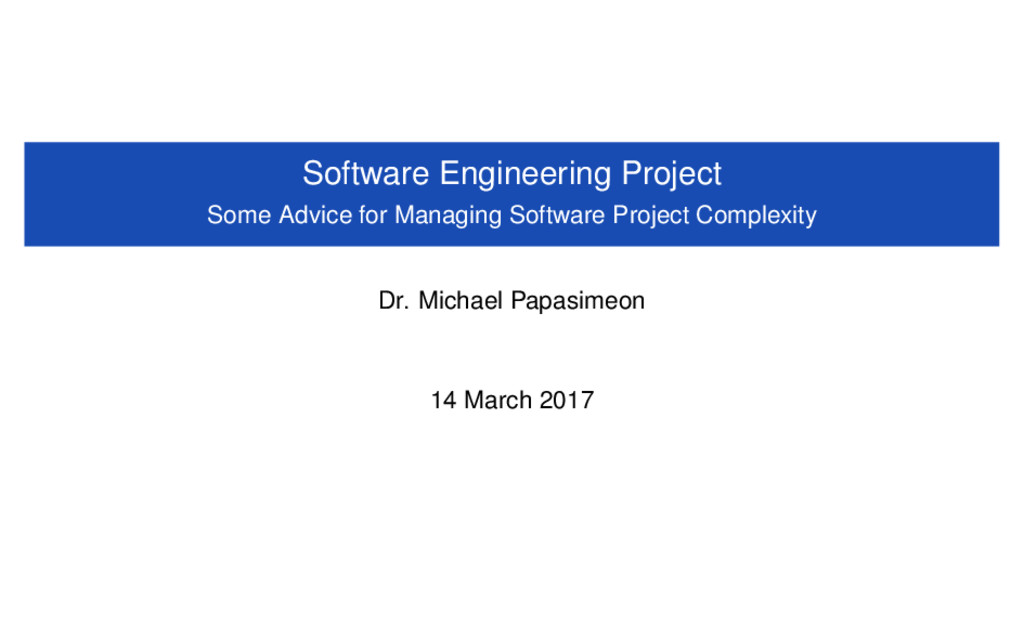 Software Engineering Project Some Advice for Ma...