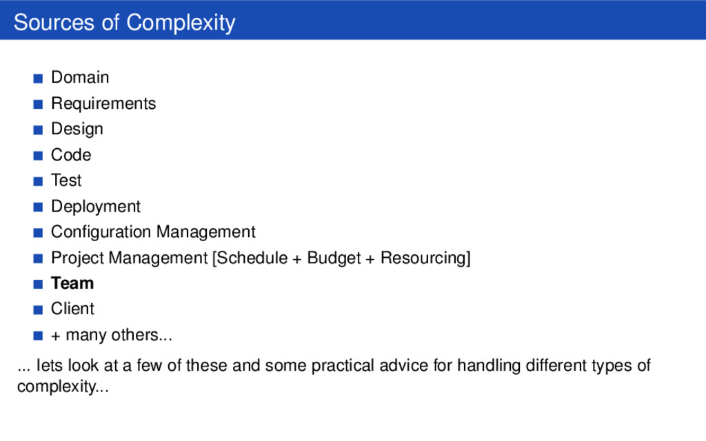 Sources of Complexity Domain Requirements Desig...