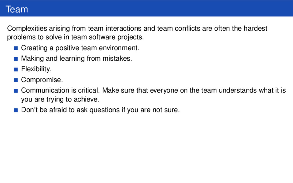 Team Complexities arising from team interaction...
