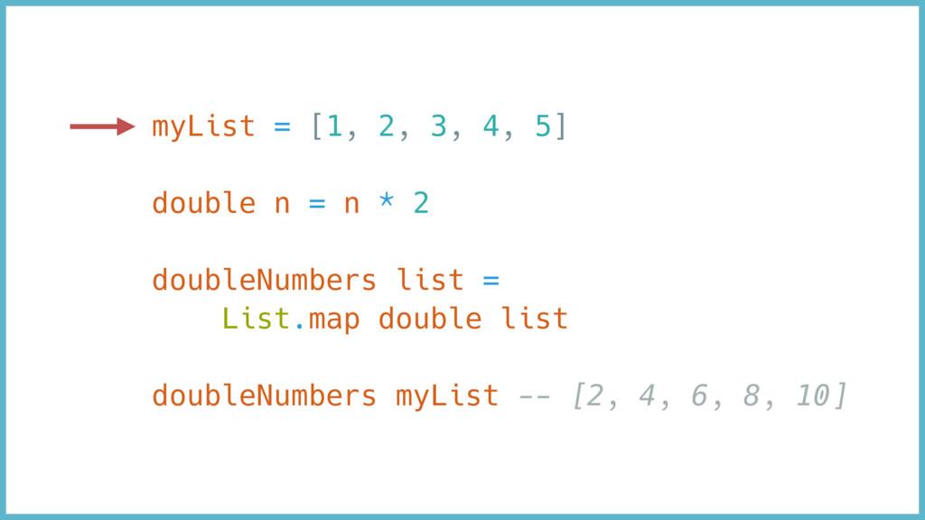 myList = [1, 2, 3, 4, 5] double n = n * 2 doubl...