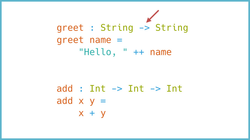 "greet : String -> String greet name = ""Hello, ""..."