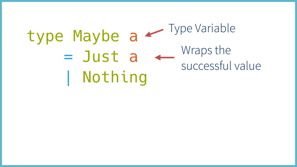 type Maybe a = Just a | Nothing Wraps the succe...