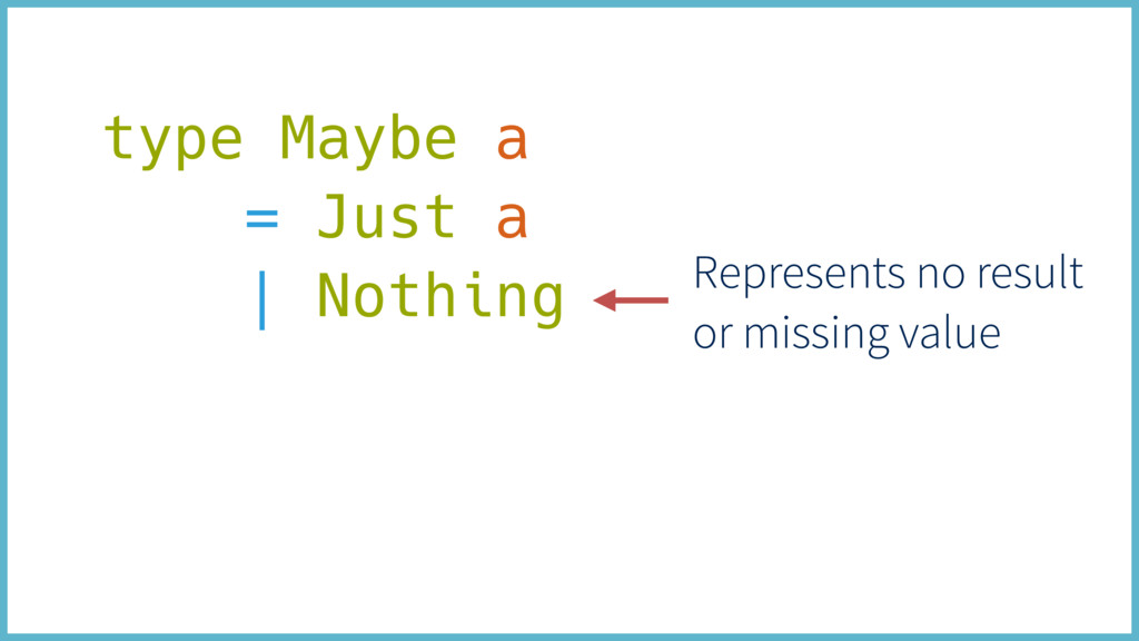 type Maybe a = Just a | Nothing Represents no r...