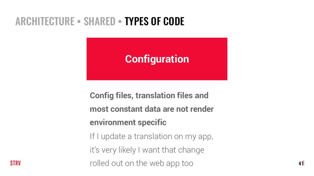 ARCHITECTURE • SHARED • TYPES OF CODE 41 Config...