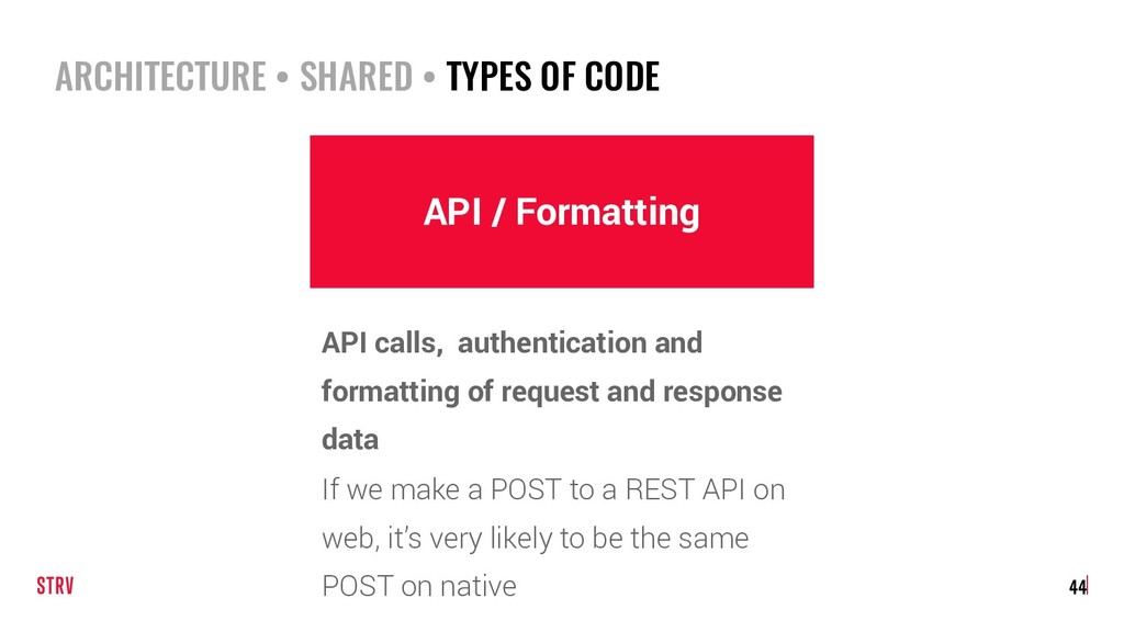 ARCHITECTURE • SHARED • TYPES OF CODE 44 API / ...
