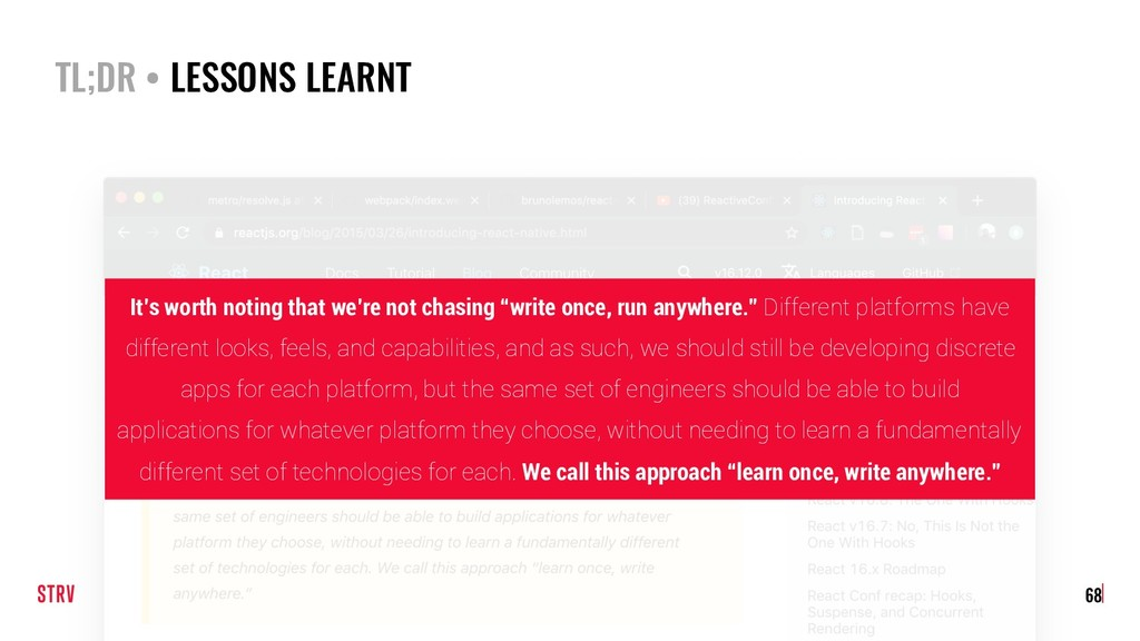 TL;DR • LESSONS LEARNT 68 It's worth noting tha...