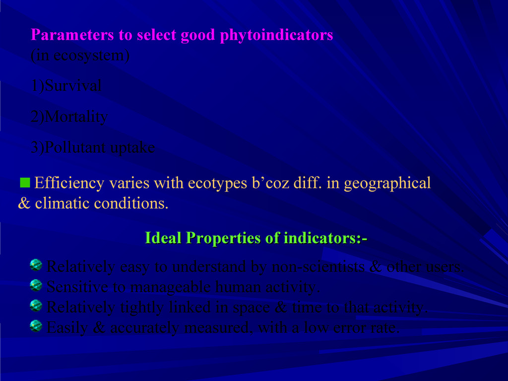 Parameters to select good phytoindicators (in e...