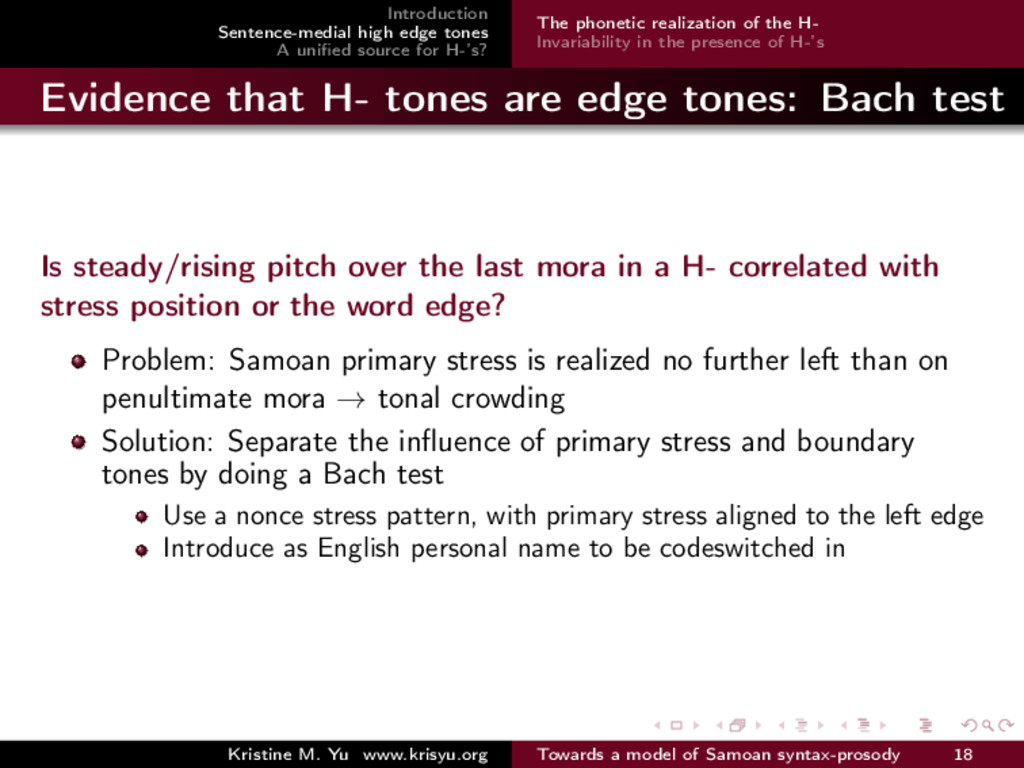 Introduction Sentence-medial high edge tones A ...