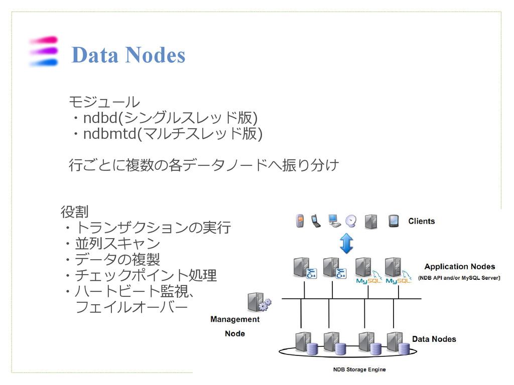 Data Nodes モジュール ・ndbd(シングルスレッド版) ・ndbmtd(マルチスレ...