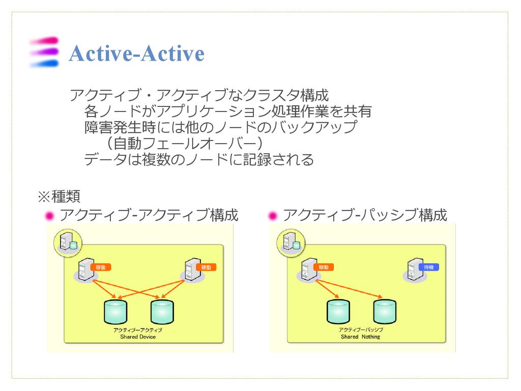 アクティブ・アクティブなクラスタ構成  各ノードがアプリケーション処理作業を共有   障害発生...