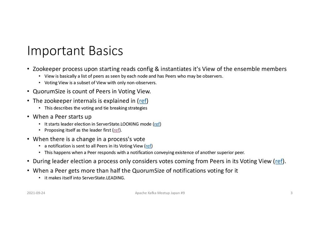 Important Basics • Zookeeper process upon start...