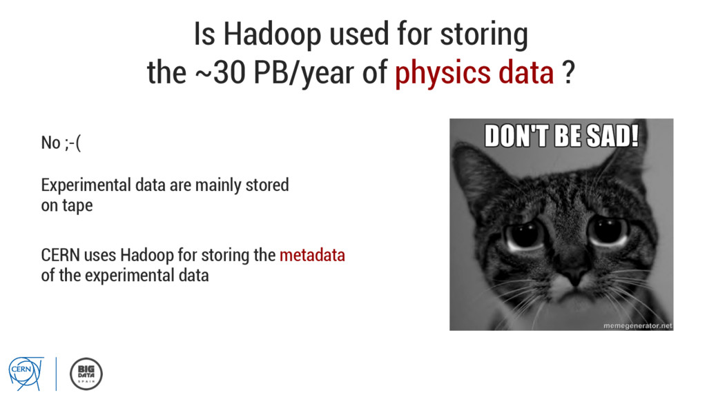 Is Hadoop used for storing the ~30 PB/year of p...